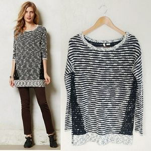 Moth / Anthropologie Staccato Stripes & Lace Tunic